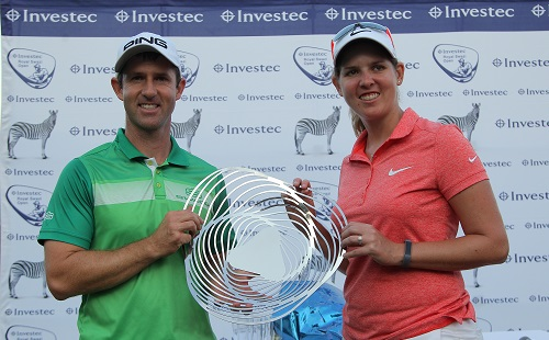 Investec Royal Swazi Open champions Ashleigh Buhai and Peter Karmis